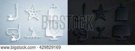 Set Whale Tail In Ocean Wave, Aqualung, Diving Mask And Snorkel, Scallop Sea Shell, Starfish And Sno