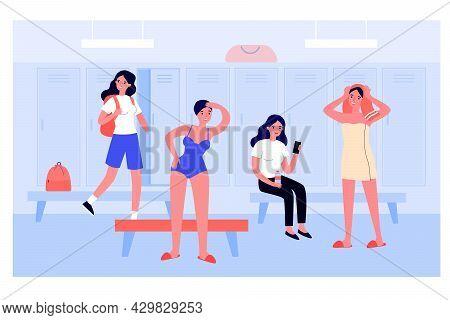 Girls In Women Locker Room Flat Vector Illustration. Female Swimming Athletes Changing Into Swimsuit