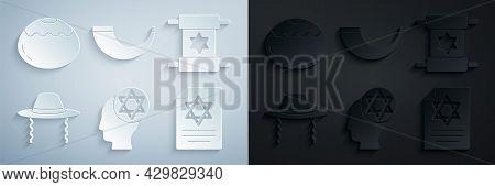 Set Orthodox Jewish Hat, Torah Scroll, Traditional Ram Horn, Shofar And Jewish Sweet Bakery Icon. Ve