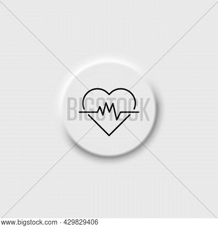 Heartbeat On Neomorphism Button Icon. Heart With Curve Sign. Heart Rate Illustration. Pulse. Electro