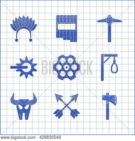 Set Revolver Cylinder, Crossed Arrows, Tomahawk Axe, Gallows, Buffalo Skull, Spur, Pickaxe And India