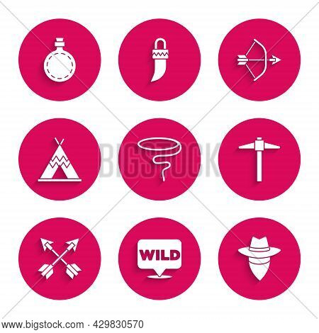 Set Lasso, Pointer To Wild West, Cowboy, Pickaxe, Crossed Arrows, Indian Teepee Or Wigwam, Bow And Q
