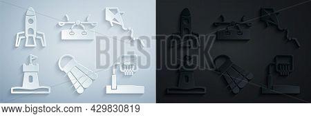 Set Badminton Shuttlecock, Kite, Sand Tower, Basketball Backboard, Seesaw And Rocket Ship Icon. Vect