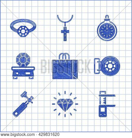 Set Shopping Bag Jewelry, Diamond, Calliper Or Caliper And Scale, Jewelry Store, Jewelers Lupe, Gem