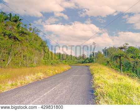 View From Ruta Panoramica Road In Puerto Rico. Usa. This Road Is Little Used By Tourists But Allows