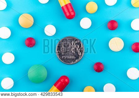 Russian Ruble Coin, Ruble Symbol On The Obverse. Medicines Around The Ruble