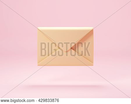 Mail Envelope Isolated On Pastel Pink Background. 3d Render Of New E-mail Message Notice Icon. Conce