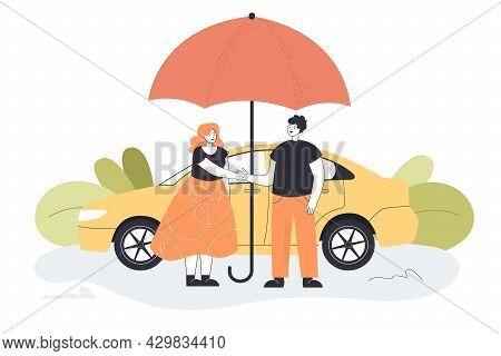 Two People Standing Under Umbrella In Background Of Car. Flat Vector Illustration. Assistant Helping