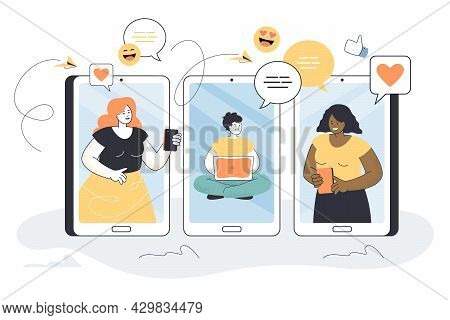 Three Smartphones With People On Screen Communicating Online. Flat Vector Illustration. Friends Or C