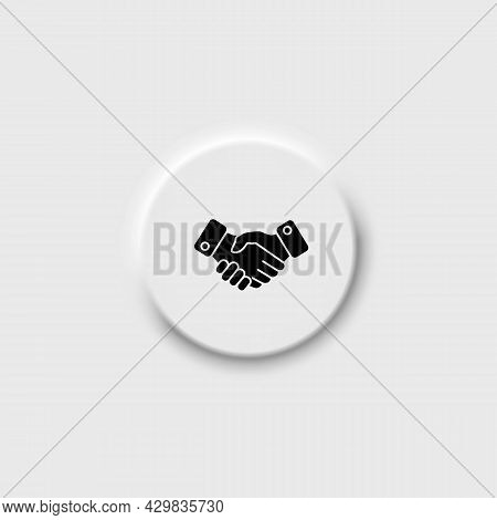 Handshake On Neomorphism Button Line Icon In Solid Black. High Quality Linear Isolated Sign. From Fi