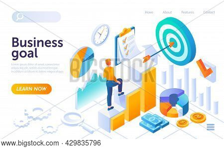 Young Businessman Is Climbing Up Towards Business Goal. Concept Of Ascending Career Ladder And Busin