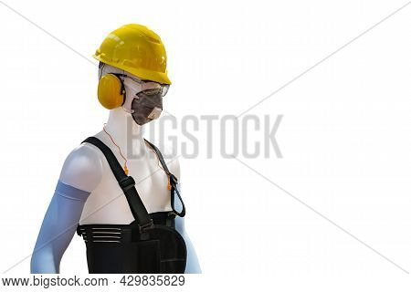 Manikin Model Operator Wear Industrial Personal Safety Equipment Such As Helmet Safety Mask Armband