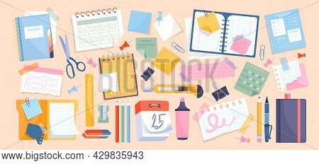 Chancellery Set With Notes And Paper Stationery For Memos Writing And Reminders. Collection Of Offic
