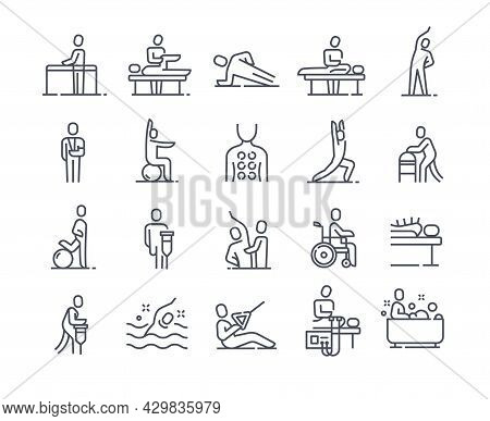 Set Of Linear Essential Icons Of Physiotherapy On White Background. Concept Of Massotherapy And Acup