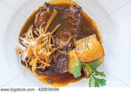 Fine Esterhazy Roast Beef In Sauce With Fried Potatoes