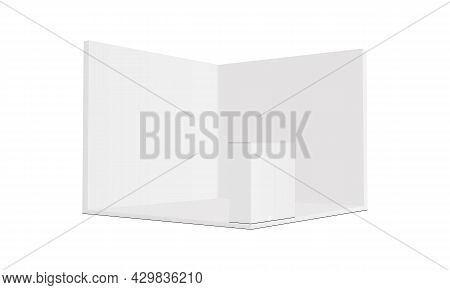 Square Exhibition Trade Show Booth Mockup With Demonstration Table, Side View. Vector Illustration