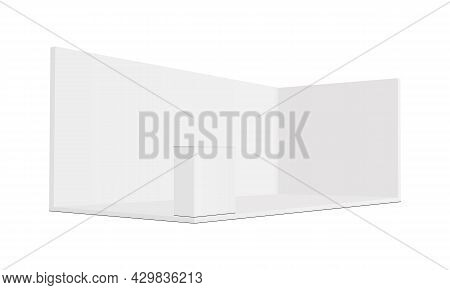 Wide Rectangular Exhibition Trade Show Booth Mockup With Demonstration Table, Side View. Vector Illu