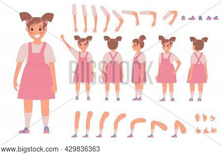 Little Girl In Cute Pink Dress Constructor For Animation On White Background. Front, Side And Back V
