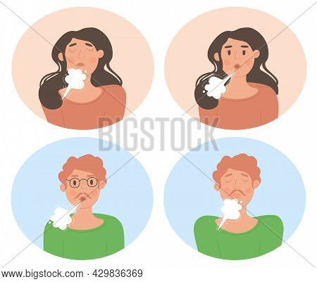 Male And Female Characters Are Doing Inhale Exhale Breathing Exercise Together On White Background.