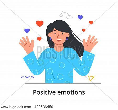 Smiling Female Character In Love Is Waving With Two Hands On White Background. Concept Of People Exp