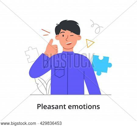 Winking Male Character Is Showing Thumb Up With One Hand On White Background. Concept Of People Expr