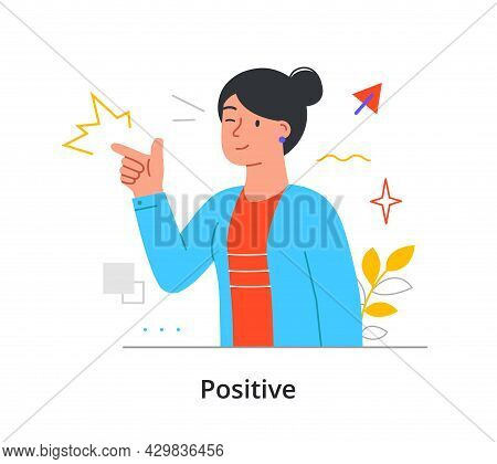 Winking Female Character Is Showing Approval Gesture With Her Finger On White Background. Concept Of