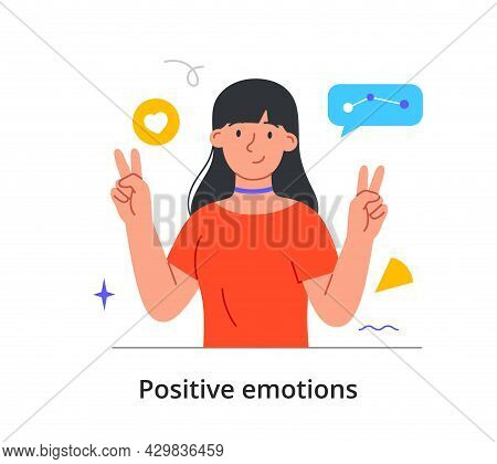 Cheerful Female Character Is Showing Peace Gesture With Two Hands On White Background. Concept Of Pe