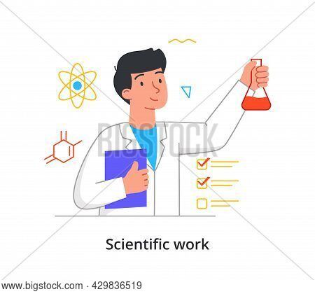 Young Male Scientist Is Holding Test Tube With Red Liquid In Laboratory On White Background. Concept