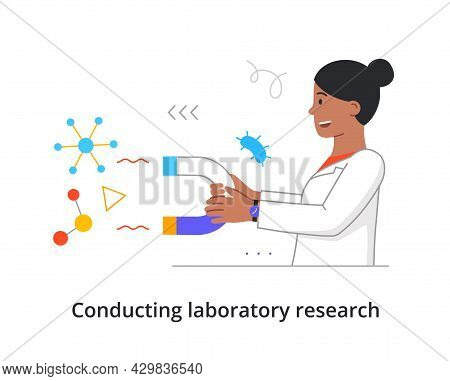 Happy Female Scientist Is Holding Big Magnet For Medical Analysis In Laboratory On White Background.