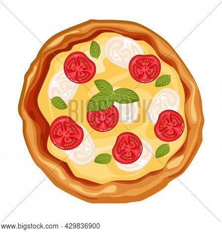 Hot Juicy Pizza Margarita, Isolated Vector Illustration.