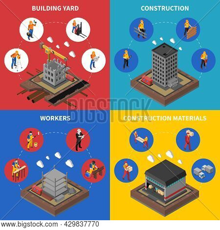 Construction Isometric Concept. Builder Icons Set. Building Industry Vector Illustration. Constructi