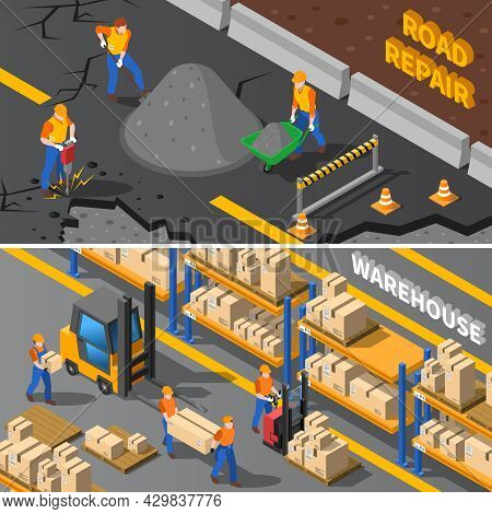 Workers Isometric Concept. Road Workers Horizontal Banners. Construction Workers Vector Illustration