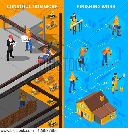 Construction Workers Isometric Concept. Builders Vertical Banners. Construction Workers Vector Illus