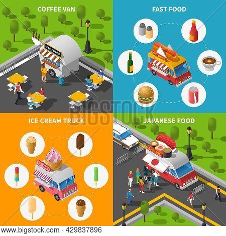 Street Food Isometric Concept. Street Food Car Icons Set. Street Food Cart Vector Illustration. Stre