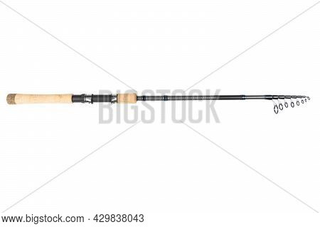 Fishing Rod Spinning Close-up. Fishing Rod. Rod Rings Isolated On White Background With Clipping Pat