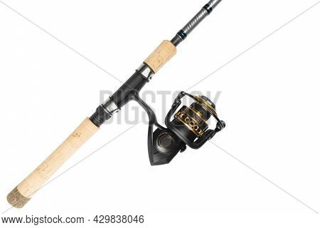 Fishing Rod Spinning Close-up. Fishing Rod And Reel Isolated On White Background. Fishing Rod Rings.