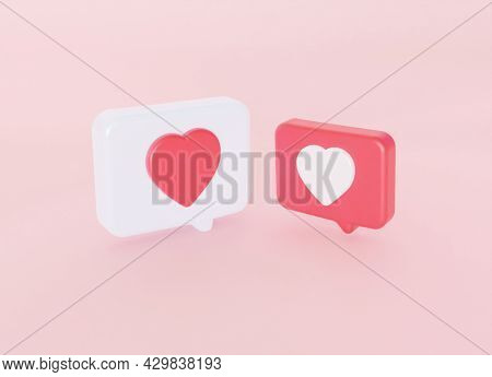 Symbol Love Like Heart. Dialog In Social Media On Pink Pastel Color Wall Background. 3d Rendering