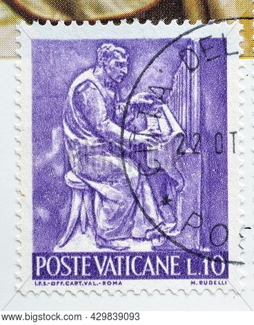 Vatican City - Circa 1966 : Cancelled Postage Stamp Printed By Vatican City, That Shows The Work Of