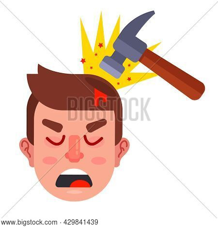 Hit A Person On The Head With A Hammer. Flat Vector Illustration.