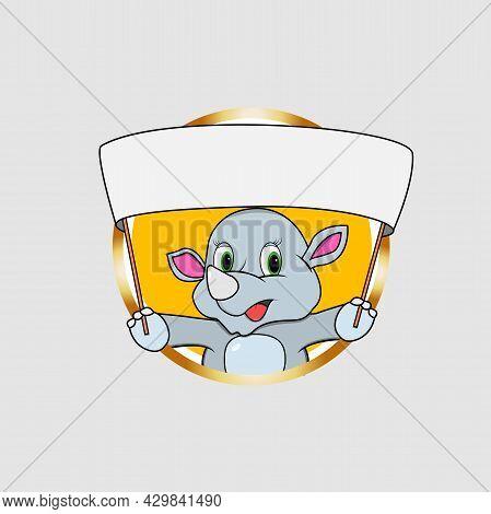 Rhinoceros Head Circle Label Bring Big White Blank White Banner, Yellow Colors Background, Mascot, I