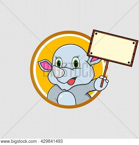 Rhinoceros Head Circle Label Bring Blank White Sign Wood , Yellow Colors Background, Mascot, Icon, C