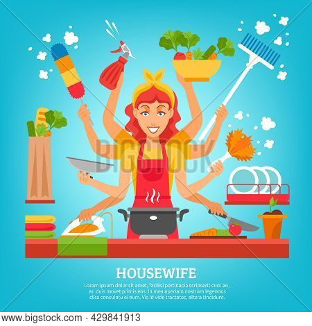 Multitasking Housewife With Women In Apron With Eight Hands Holding Different Items For Home Work Fl