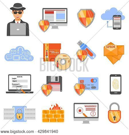 Network Security Isolated Flat Color Icons With Antivirus Disk Drive Firewall Protection Spam Shield