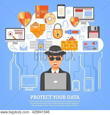 Network Security Concept With Hacker Figure At Computer And Set Of Decorative Icons With Floppy Disk