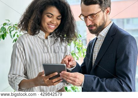 Serious Executive Middle Aged Ceo Bearded Boss Businessman Holding Using Looking At Tablet Device An