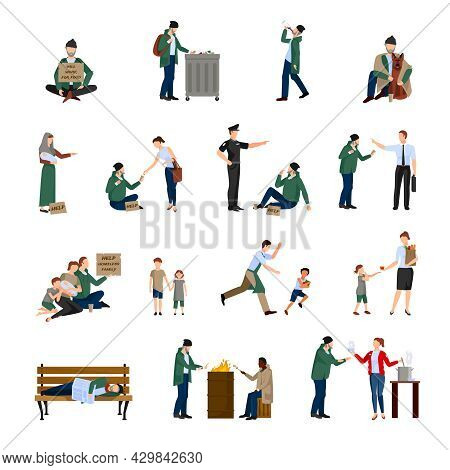 Homeless People Icons Set Begging On The Streets And Survive In Harsh Conditions Vector Illustration