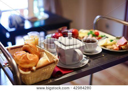Tasty Buffet Breakfast Served On A Table
