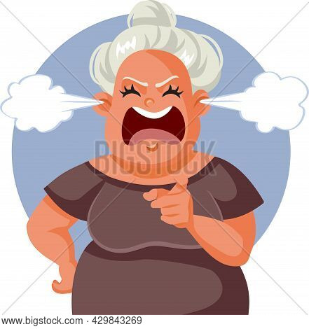 Angry Middle Age Woman Pointing Finger Vector Illustration