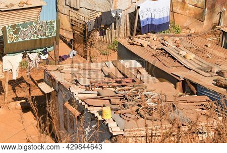 Soweto South Africa, August 15 2007; Shanty Town Living And Homes Of Some Of Words Poorest People St