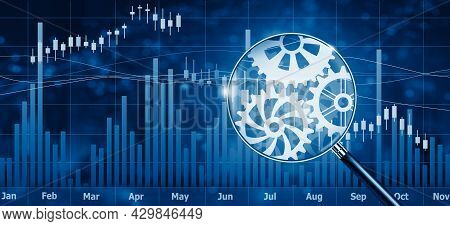 Financial Stock Market Interface And Magnifying Glass With Cog Gears Mechanism. Abstract Technology